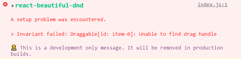 Invariant failed: Draggable[id: item-0]: Unable to find drag handle